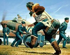 British Hurricane pilot scrambles for a mission Aviation Theme, Aviation Art, Airplane Art, Airplane Pilot, Hawker Hurricane, Aircraft Painting, Air Festival, Cross Art, Ww2 Aircraft