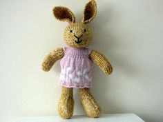 Hand Knitted Bunny Rabbit, Knit Rabbit Dressed in Pale Pink Dress, Stuffed Animal, Cuddly Bunny, Unique Toddler Gift, Nursery Decor by TabbyCatCraftsShop on Etsy