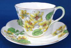 Cup And Saucer Salisbury Geranium 1930s English Bone China Teacup
