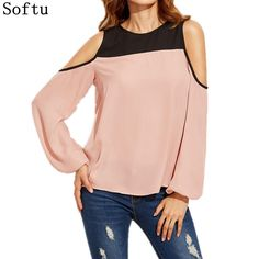 Softu Women Chiffon Blouses Summer Ladies Causal Off Shoulder Long Sleeve Shirts Patchwork Tops Female Blusas #Affiliate