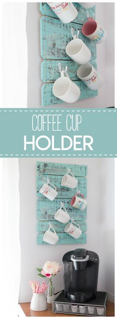 Fabulous DIY Baby Shower Gifts This coffee cup holder is a simple & pretty diy project to organize your coffee mugs.This coffee cup holder is a simple & pretty diy project to organize your coffee mugs. Apartment Kitchen Organization, Diy Organization, Diy Storage, Apartment Ideas, Towel Storage, Coffee Mug Holder, Coffee Cups, Coffee Coffee, Coffee Beans