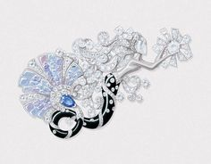 Van Cleef & Arpels The 'Seven Seas' Collection 'Mysterious mermaid' clip. Inspired by the Mediterranean Sea, the rendering features diamonds, sapphires and onyx in white gold. 2015