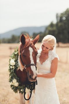 @Rachael Erickson Pre-Ceremony Horse Wedding photos horse garland  Triple Creek Horse Outfit, Kenwood, CA  andria lindquist photography
