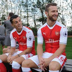 Granit Xhaka and Shkodran Mustafi at the Arsenal FC 2016/17 photocall.