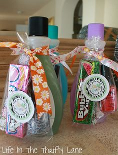 Teen party favors: gum, nail polish, nail polish remover, emery board.  Love this idea!  This would be good for a girls night in, too.