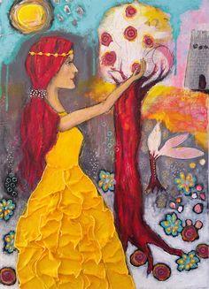 The Apple garden - original mixed media painting - Piarom - folk art - Rainer Maria Rilke