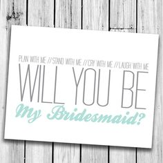 Will you be my Bridesmaid Card & Envelope by CaffeineColour, $4.00