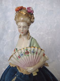 Wonderful and Unusual Half Doll Pincushion with Detailed Fan