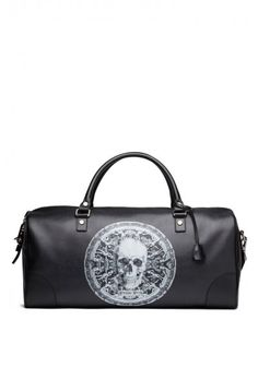 Philipp Plein - 'Goth' Medium Travel Bag Black | Add style to your travel outfits with this amazing medium size bag with printed skull symbol. Wear it to attract everyone's attention.