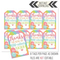 Easter Teacher Appreciation Printables Eggcellent Tags gifts for employees Easter Teacher Appreciation Printables Appreciation Message, Employee Appreciation Gifts, Employee Gifts, Volunteer Appreciation, Teacher Appreciation Week, Teacher Christmas Gifts, Teacher Gifts, Volunteer Gifts, Teacher Thank You