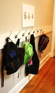 Diy Coat And Backpack Rack By The Front Door Paint A Pre Cut Piece Of Wood From Hardware Add Some Hooks Attach It Too Wall