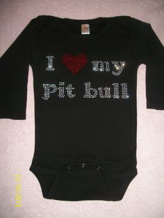 1218 month I love my pitbull onesie by sassygirlcouture on Etsy, $14.00 #pitbulls #endbsl