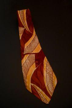 FILM NOIR Vintage Tie BROWN & YELLoW 1940 Swing Art Deco FASHiON Cravate Krawatte DAs Shirt Suit Gabardine Rayon Jacket 1950 Rockabilly de la boutique FeverVintage sur Etsy
