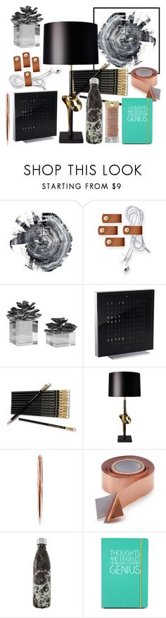 black desk by dodo85 on Polyvore featuring QLOCKTWO, Heathfield & Co., S'well, Mark & Graham, Happy Jackson and Kikkerland