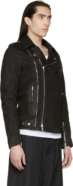 Farb-und Stilberatung mit www.farben-reich.com - Balmain Black Coated Denim Biker Jacket