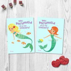 Be My Teacher, Teacher Valentine, Valentines, Kids Crafts, Fun Activities For Kids, Little Girls, Mermaid, Printables, Ideas