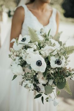 black and white anemones, roses, ferns, veronica white flower, and seeded eucalyptus Anemone Wedding Flower Trends 20 Anemone Wedding Bouquets Bouquet Bride, Rose Wedding Bouquet, White Wedding Bouquets, Bridal Flowers, Floral Bouquets, Floral Wedding, Wedding Colors, Green And White Wedding Flowers, Boquette Flowers