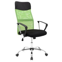 Manager office armchair with PU black and green