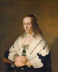 Ferdinand Bol. Netherlands. June 24, 1616 - August 24, 1680 Lady with a fan Rembrandt, Ferdinand Bol, Dutch Golden Age, Portraits, Portrait Paintings, Oil Paintings, Dutch Painters, Johannes Vermeer, Oil Painting Reproductions