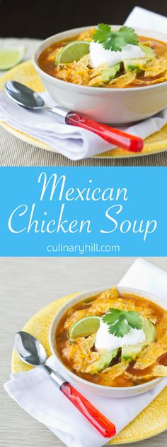 This easiest, tastiest Mexican Chicken Soup is made in your own kitchen! It's healthy, hearty, and ready in only 30 minutes. Whole Food Recipes, Mexican Food Recipes, Cooking Recipes, Mexican Meals, Ethnic Recipes, Mexican Dishes, Chili Recipes, Chicken Soup Recipes, Chili Soup