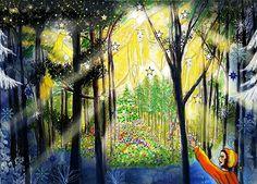 Engelsbesuch in der Christnacht im Wald.