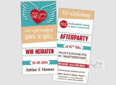Einladungskarte Hochzeit Rockabilly von SaNe-Stücke - Individuelle Einladungskarten und mehr auf DaWanda.com
