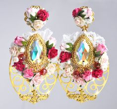 Floral White DG Baroque Earrings Swarovski Romantic Wedding Pearls Woman Flowers 24 k gold seed beads Bridal Bridesmaids Hairband