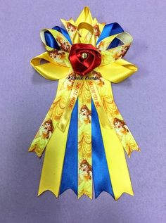 Birthday Or Baby Shower Corsage. Belle / Beauty And The Beast. Yellow /  Royal B