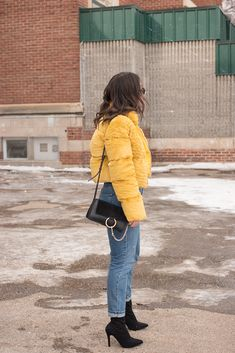 Trend Talk: The Puffer Jacket #yellow #fauxfur #pufferjacket #trend #fashion #fashionbloggers #style #winterfashion #casualstyle #casualoutfits #denim #chloe