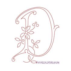Monogram for Hand Embroidery: Letter D
