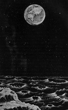 La Terre dans le ciel, telle qu'on la voit de la Lune (Earth in the sky, as seen from the Moon), Astronomy Pictures, Sun Moon Stars, Star Sky, Moon Art, Black Paper, Aesthetic Art, Dark Art, Aesthetic Wallpapers, Illustration Art