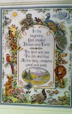 DIMENSIONS THE BEGINNING BIBLE GENESIS CROSS STITCH KIT PEACOCK PARROT WILD LIFE #Dimensions #Sampler FOR SALE ON EBAY VIA suzeesgoodies  NOT SOLD!
