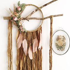Large Boho Dreamcatcher | Dried Flowers | Floral Wallhanging | Floral Dream Catcher | Bohemian | Boho | Mustard Dream Catcher | Blush Pink by MeadowandMoss on Etsy https://www.etsy.com/ca/listing/550099564/large-boho-dreamcatcher-dried-flowers