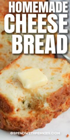 Cheese Bread is a delicious, cheesy side dish that the whole family will love! Serve warm right out of the oven with butter! #spendwithpennies #cheesebread #recipe #homemade #cheesy Quick Bread Recipes, Bread Machine Recipes, Cooking Recipes, Naan, Crepes, Biscuit Bread, Bread Ingredients, Bread Bun, Bread Rolls