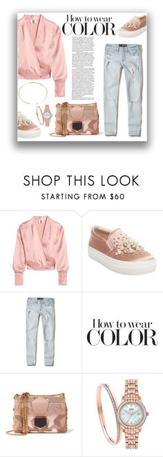 """""""Wrapt blouse & pearl sneakers"""" by ane-ana ❤ liked on Polyvore featuring Topshop Unique, Steve Madden, Hollister Co., Jimmy Choo, Citizen and BaubleBar"""