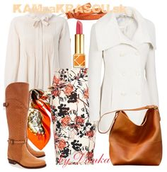 #kamzakrasou #sexi #love #jeans #clothes #dress #shoes #fashion #style #outfit #heels #bags #blouses #dress #dresses #dressup #trendy #tip #new #kiss #kisses Kontrastná biela a oranžovo-hnedá - KAMzaKRÁSOU.sk