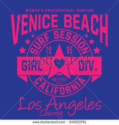 Girl surf typography , t-shirt graphics, vectors, sport  - stock vector