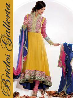 Yellow Designer Churidar Kameez yellow anarkali dress [BGSU 9877] - US $118.45
