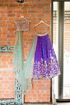 Sangeet Lehengas - Purple and Mint Green Lehenga | WedMeGood | Purple Silk Lehenga with Gold Embroidery with a Mint Green Net Dupatta #wedmegood #indianwedding #indianbride #lehenga #bridal