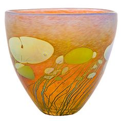 A sweet little bowl by Robert Held--Giverny Small Bowl-- with lovely floating gold bubbles that hardly look like murrini.