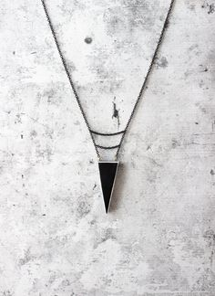 Black minimal geometric necklace for her   urban style triangle shaped pendant  unique gift Handmade & one of a kind accessories and jewelry by AnankeJewelry