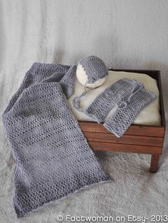 Hand knit gift set or Photography prop set for Newborn Photography.  Knit lace wrap, bonnet and pants.