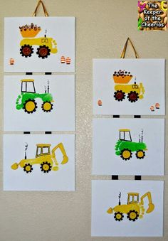 Children's footprint art, create construction vehicles from your kids footprint