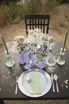 lavender table decor http://www.weddingchicks.com/2013/10/14/lavender-wedding-inspiration/