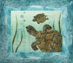 McKenna Ryan Laser-Cut Quilt Kit Turtle Sunday, Something Fishy, Block 2 Quilting DIY Sea Turtles by UndercoverQuilts on Etsy Quilt Kits, Quilt Blocks, Sea Turtle Quilts, Applique Quilt Patterns, Applique Ideas, Sewing Patterns, Crochet Patterns, Batik Quilts, Hawaiian Quilts