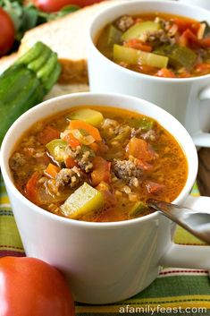 This Zucchini Tomato Italian Sausage Soup is a delicious way to use up a plethora of fresh garden vegetables! This Zucchini Tomato Italian Sausage Soup is a delicious way to use up a plethora of fresh garden vegetables! Crock Pot Recipes, Cooking Recipes, Healthy Recipes, Delicious Recipes, Healthy Food, Healthy Fall Soups, Cooking Tips, Cheap Recipes, Spinach Recipes