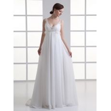 [US$183.10] Sheer Straps Chiffon Empire Wedding Dress with Beading and Court Train