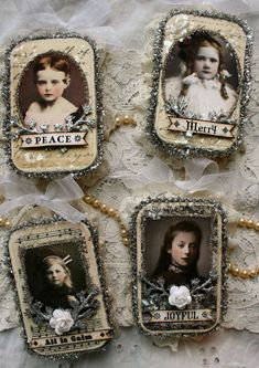 Altered tins by Nancy Maxwell James - I wish I had the talent and patience to make these!  Directions can be found at: http://sugarlumpstudios.com/?p=1985