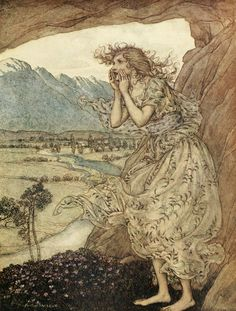 """COMUS is a masque in honour of chastity, written by John Milton and illustrated by Arthur Rackham - 1922 version. """"Sweet Echo."""""""