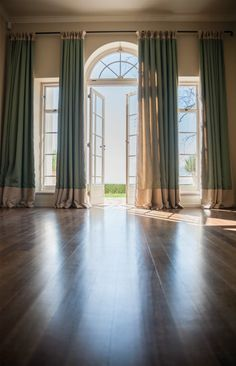 Brilliant French Door Window Treatments - Ideas For Covering French Door Windows French Door Windows, French Door Curtains, High Windows, Blinds For Windows, Large Windows, Drapes Curtains, Windows And Doors, Window Blinds, Window Panels